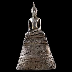 Attractive larger silver sheet Buddha, Laos or Thailand 19th. century