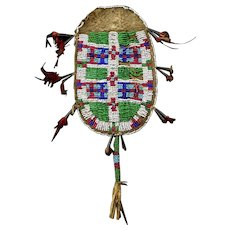 Rare Indian Native Sioux beaded hide 'Strike-a-light' pouch 1800-1850