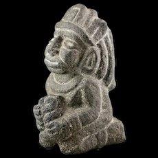 Important massive Aztec Lava stone figure of the Kneeling wargod!