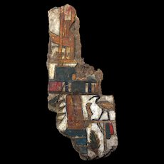 Large Egyptian Cartonnage fragment w splendid colours, Late Period
