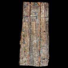 A massive Egyptian wooden casket panel, Late Period