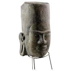 A rare Early Pre-Khmer Stone head of Vishnu, 8th.-9th. cent. AD