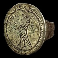 Wonderful huge Byzantine silver ring with engraved Eagle, 10th. cent.