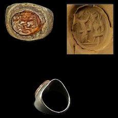 Choice Roman silver seal ring with Carnelian intaglio