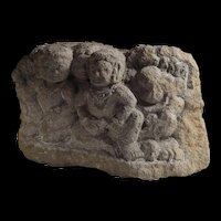 Massive early Buddhist stone carving of worshippers, Java, 8th. cent.