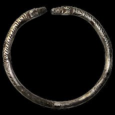 Nice Greek silver Bracelet w rams heads, ca. 6th.-5th cent BC