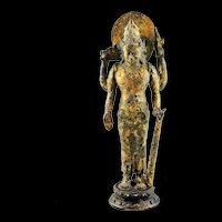 Museum quality gilt Hindu bronze figure of Vishnu, 8th.-9th. cent. AD!
