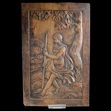 Antique Baroque wooden panel w fine carving, France, ca. 1600!