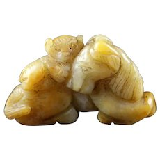 A rare Yuan-Ming Dynasty Jade carving of horse and monkey, ex Lee