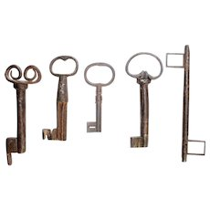 Lot of 5 rare antique European Iron keys, 17th.-18th. century.