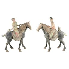 Museum quality pair of massive Chinese Tang Dynasty pottery Horses and riders!