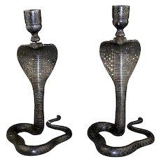Pair of Indo-Persian / Indian Cobra candlesticks, with gold Koftgari
