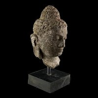 Superb Vulcanic Stone Head of Buddha, Indonesian, ca. 8th. cent. AD