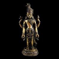 Hindu gilt bronze figure of male-female deity, Nepal, 15th-16th. c