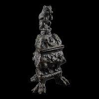 A magnificent German Renaissance bronze Bear inkwell, ca. 1600!