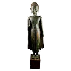 Museum quality early Thai bronze buddha, ayutthaya, ca. 15th. cent.
