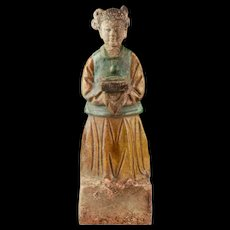 A rare Ming Dynasty pottery figure of a female attendant, 1368-1644!