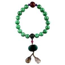 Sino-Tibetan Prayer bead necklace w precious stones