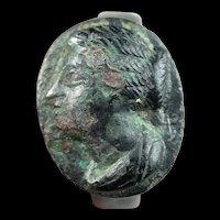 Rare heavy Roman silver ring w. female portrait, later 2nd. century AD