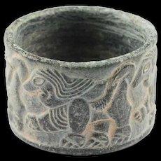 Fine Bactrian Chlorite stone jar w Mythical beast, 3rd. mill. BC