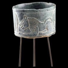 Wonderful Bactrian Chlorite stone jar w Bulls & Lion, 3rd. mill. BC
