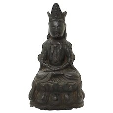 Chinese Early Ming Dynasty bronze figure of Guanyin
