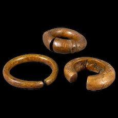 Lot of 3 bronze West African Slave Currency Bracelets, 1140 grams!