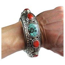 Superb Quality Tibetan silver and gems bracelet, 19th.-20th. cent.