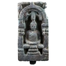 Very early stone relief stele of seated Buddha, Gandhara, 3rd. cent.