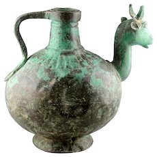 Massive bronze Hindu Holy Water vessel w Nandi bull, 6th.-8th.cent