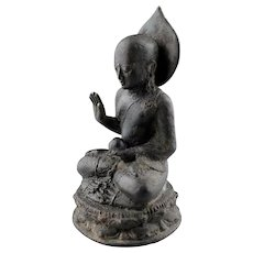 Superb Early bronze figure of bald Buddha, Java, 8th. cent AD.