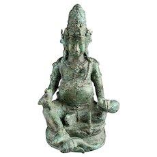 Seated bronze figure of Kuvera or Kubera, Hindu Java, 10th. cent