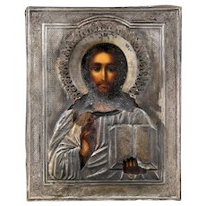 Exceptional early Russian Icon with silver Ritza, 19th. century
