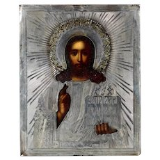 A Russian Icon with Jesus Pantokrater, Silver Ritza, dated 1874!