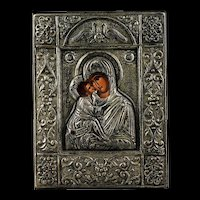 A heavy solid silver Greek Icon, made in Byzantine style, 20th. cent.