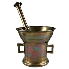 Massive early apothecary brass mortar, Northern Europe, dated 1734!