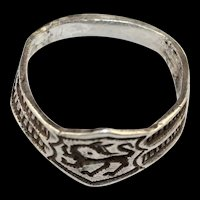 Attractive Saxon Silver seal ring w monster, 4th.-6th. cent. AD