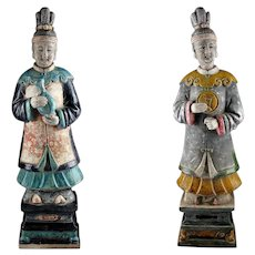 Museum Quality Ming Dynasty pottery figures of female attendants w TL