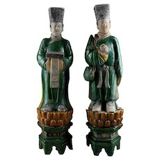 Pair of male Ming Dynasty pottery attendants on lotus throne w Termo-Luminescence test