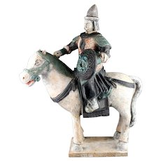 XXL Chinese pottery figure of mounted Officer, Ming Dynasty w TL test!
