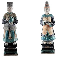 Museum Quality Ming Dynasty pottery figures of attendants w TL test