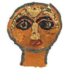 Roman - Byzantine portrait textile, Coptic Egypt, 5th.- 7th. cent. AD