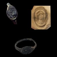 Rare Byzantine silver seal ring w 3/4 bust of Madonna, 6th.-8th. cent. AD