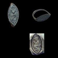Beautiful silver seal ring w prayer, Byzantine, ca. 6th.-8th. cent. AD