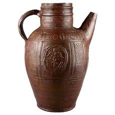 Huge & rare German salt-glazed stoneware spouted jug, Muskau, 18th. cent.!