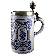 Museum quality Early German Westerwald pottery tankard, 1700-1720