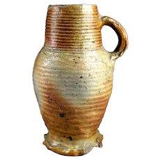 Large Medieval stoneware jug, Germany Siegburg, 14th.cent.- gem!