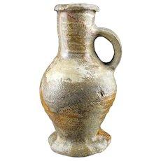 Nicely glazed Medieval stoneware jug, Germany Siegburg, 14th.cent.