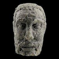 Attractive & rare celtic Iberian Vulcanic stone head of bearded man