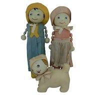 Rare Richard Krueger Rattle Doll set of 3 with Dog Super cute all original.